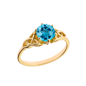 Trinity Knot Personalized Genuine  Birthstone Engagement/Proposal Ring in Yellow Gold