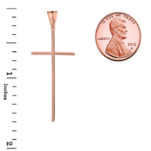 Dainty Solid Rose Gold Cross Pendant Necklace