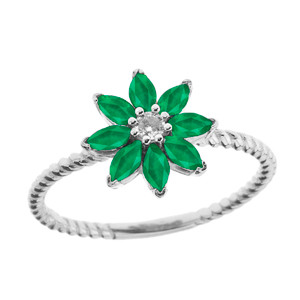 Emerald (LCE) and Diamond Daisy Promise Rope Ring in White Gold
