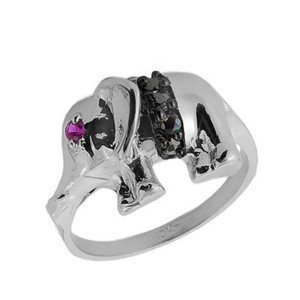 10k White Gold Black Onyx and Red CZ Elephant Ring