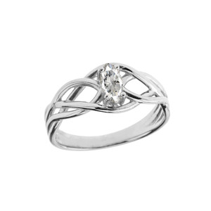 Celtic Knot Cubic Zirconia Ring in Sterling Silver