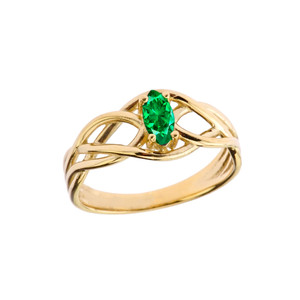 Celtic Knot Lab Created Emerald Ring in Yellow Gold