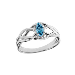 Celtic Knot Lab Created Blue Topaz Ring in White Gold