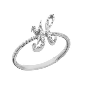"""Solid White Gold Script Initial """"H"""" Stackable Diamond Ring"""