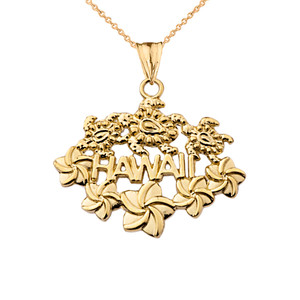 Aloha State Hawaii Pendant Necklace in Yellow Gold