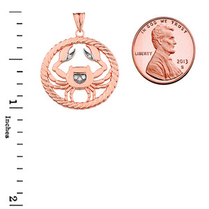 Diamond Cancer Zodiac in Rope Pendant Necklace in Rose Gold