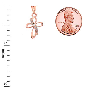Dainty Modern Cross Cubic Zirconia Pendant Necklace in Rose Gold