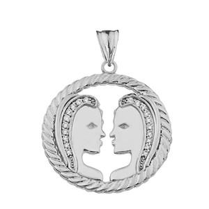 Diamond Gemini Zodiac in Rope Pendant Necklace in White Gold