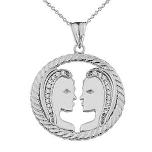 Diamond Gemini Zodiac in Rope Pendant Necklace in Sterling Silver