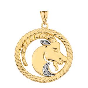 Diamond Capricorn  Zodiac In Rope Pendant Necklace In Yellow Gold