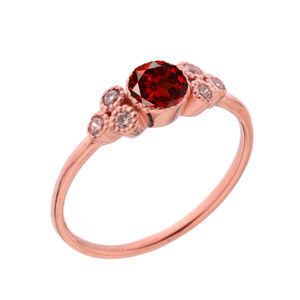 Dainty Chic Genuine Garnet and White Topaz Promise Ring in Rose Gold