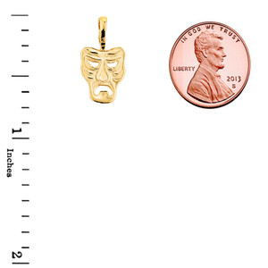 Comedy & Tragedy Drama Masks 2-Piece Pendant Necklace in Yellow Gold