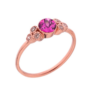 Dainty Chic Lab Created Alex and White Topaz Promise Ring in Rose Gold