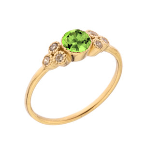 Dainty Chic Genuine Peridot and White Topaz Promise Ring in Yellow Gold