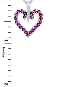 Love and Heart Gold Pendants - Gold Heart Pendant with Rubies (w/ Chain)