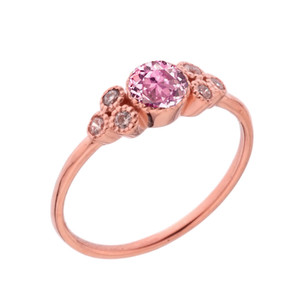 Dainty Chic Pink Cubic Zirconia and White Topaz Promise Ring in Rose Gold