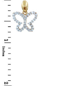 Gold Butterfly Charms and Pendants - Gold Butterfly Pendant with Shining Cubic Zirconias