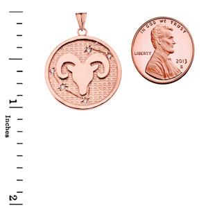 Designer Diamond Aries Constellation Pendant Necklace in Rose Gold
