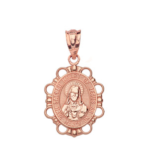 Solid Rose Gold Sacred Heart of Jesus Pendant Necklace