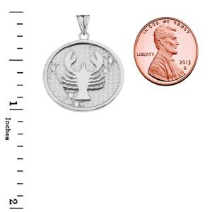 Designer Diamond Cancer Constellation Pendant Necklace in White Gold