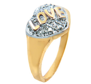Valentines Special -  Love Gold Ring with 2 Diamonds