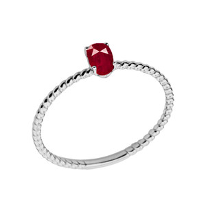 Dainty Genuine Ruby Oval Rope Ring in White Gold
