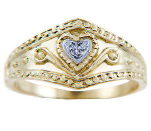 Valentines Special - Ladies Regal Diamond Heart Yellow Gold Ring