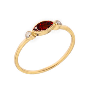 Dainty Genuine Garnet and White Topaz Ring in Yellow Gold