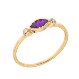 Dainty Genuine Amethyst and White Topaz Ring in Yellow Gold