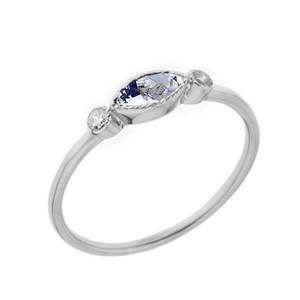 Dainty Genuine Aquamarine and White Topaz Ring in White Gold
