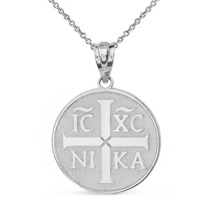 Christian Symbol ΙϹ ΧϹ ΝΙΚΑ  Jesus Christ Conquers Pendant Necklace in Solid Gold (Yellow/Rose/White)