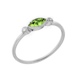 Dainty Genuine Peridot and White Topaz Ring in White Gold
