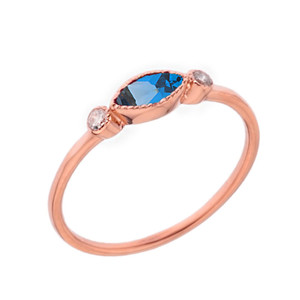 Dainty Blue Topaz and White Topaz Ring in Rose Gold