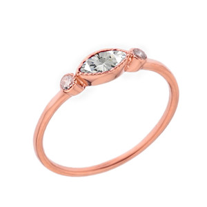 Dainty Clear Cubic Zirconia and White Topaz Ring in Rose Gold