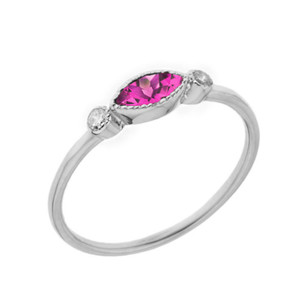Dainty Lab Created Alexandrite and White Topaz Ring in White Gold