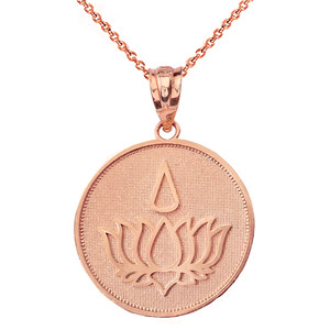 Solid Rose Gold Lotus Flower Blossom with Teardrop Disc Pendant Necklace