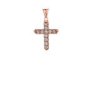 Mini Elegant Diamond Cross Pendant Necklace In Rose Gold