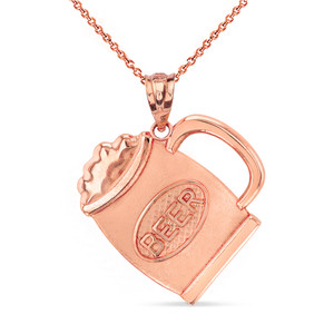 Beer Mug Pendant Necklace in Solid Gold (Yellow/Rose/White)