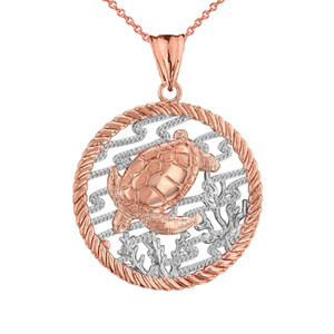 Honu Sea Turtle On Seashore in Rope Pendant Necklace in Two-Tone Rose Gold