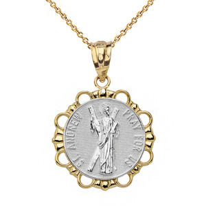 Solid Two Tone Yellow Gold Round Saint Andrew Pendant Necklace
