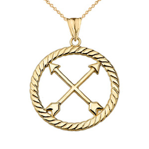 Crossed Arrows Friendship Symbol in Rope Pendant Necklace in Yellow Gold