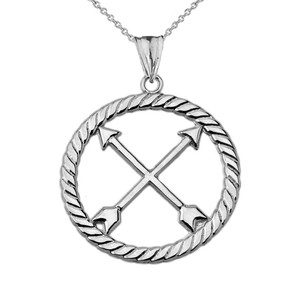 Crossed Arrows Friendship Symbol in Rope Pendant Necklace in Sterling Silver