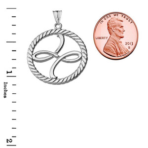 Friendship Symbol in Rope Pendant Necklace in White Gold