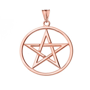 Pentagram Pendant Necklace in Rose Gold