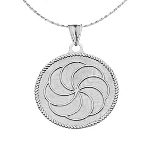 "Two-Sided ""Duxov""and Armenian Eternity Symbol Pendant Necklace in Sterling Silver"
