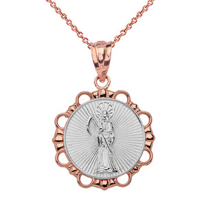 Solid Two Tone Rose Gold Round Santa Muerte Pendant Necklace