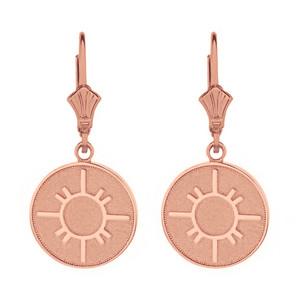 14k Solid Rose Gold Native American Geometric Sun Symbol Dainty Disc Earring Set