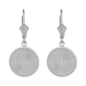 14k Solid White Gold Chartres Labyrinth Dainty Disc Earring Set