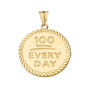 """""""100 Every Day"""" Rope Disc Pendant Necklace in Yellow Gold"""