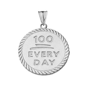 """100 Every Day"" Rope Disc Pendant Necklace in White Gold"